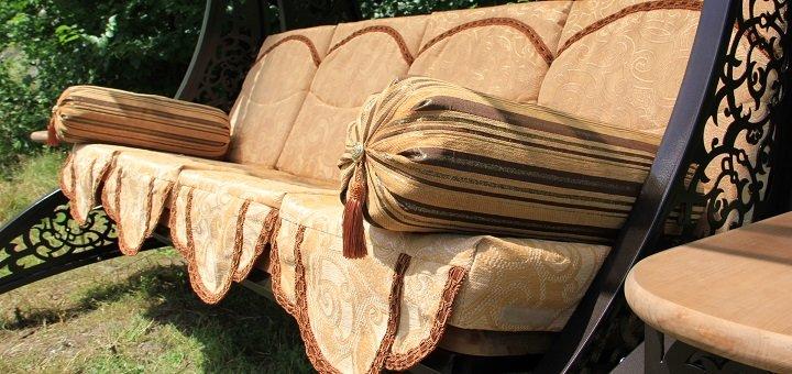 Скидка 5% при покупке садовой качели с мягкой частью от производственной компании «Огонь»