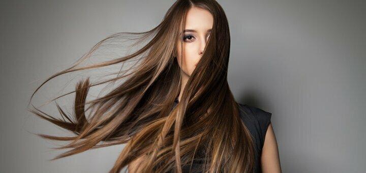 Кератиновое выравнивание волос «INOAR» со стрижкой кончиков и укладкой в салоне «Ваниль»