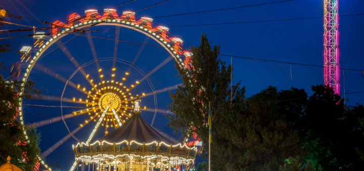 Скидка 50% на два билета на самое большое в Украине колесо обозрения в Лунапарке Одесса
