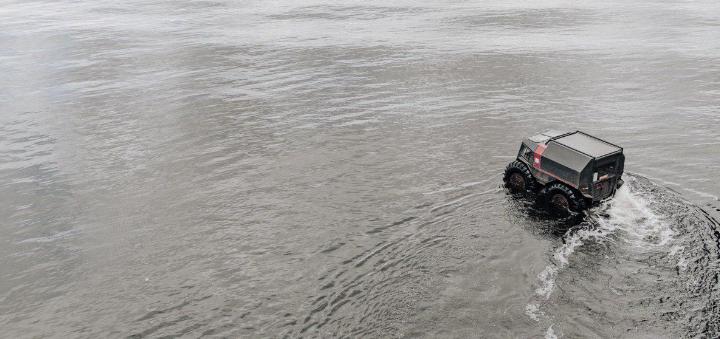 Скидка до 40% на экстремальное катание на вездеходе «Sherp» на Жуков остров от «SherpDrive»